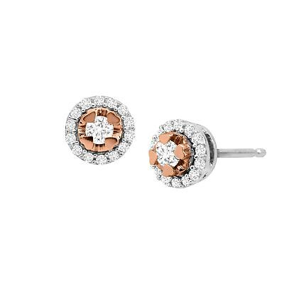 1/5 ct Diamond Halo Stud Earrings in 18K Rose Gold-Plated Sterling Silver