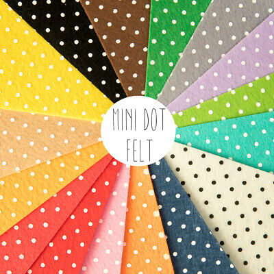 Mini Polka Dot Patterned Acrylic Felt Sheet 30cm square, for craft and sewing