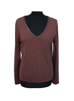 LK BENNETT Jumper Size L Purple Silk Wool Everyday Casual Party Holiday Home *