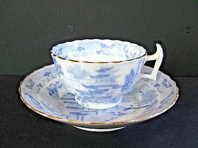 "Oriental  ""Blue Willow"" Tea Cup and Deep Saucer"