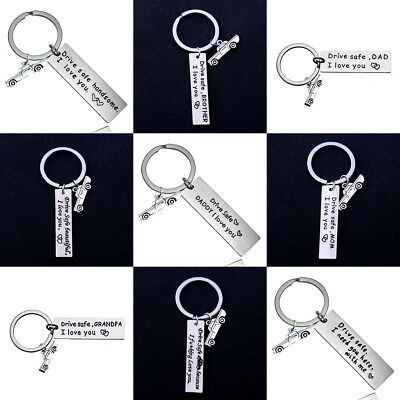 Chic Car Drive Safe Keychain Family Gift For Dad Mom Couples Boyfriend Keyring