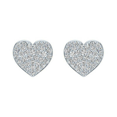 14k White Gold Over 0.50 Ct Round Cut Diamond Heart Shape Womens Stud Earrings