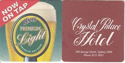 Hahn Premium Light - Crystal Palace Hotel Beer Coaster- Beer Mat