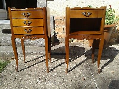 French antique vintage Louis Philippe style pair of bedside tables