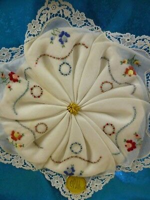 Vtg Box Set 6 Embroidered Cotton Handkerchiefs-Made in Switzerland *NIB