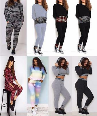 Ladies Camouflage Army Girls Stretchy Jogging Tracksuit Women Lounge Wear (8-26)
