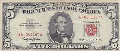 United States 5 Dollars Red seal 1963 Fine