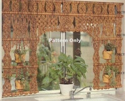 Vintage Macrame Garden Curtain & Hanging Plant Holder Pattern -Copy Pattern Only