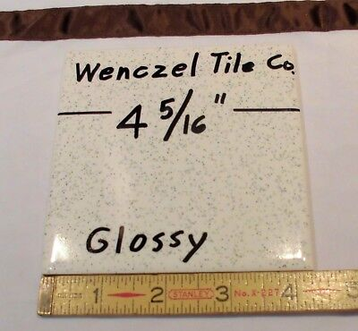 "1 pc.  *White Sparkle* Glossy Ceramic Tile by Wenczel Tile Co.  4-5/16""- 4-3/8"""