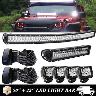 """50Inch Curved LED Light Bar + 22in + 4"""" CREE Pods Offroad SUV ATV Ford Jeep 20''"""