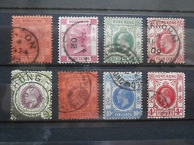 Old Hong Kong stamps x8 used some hinged
