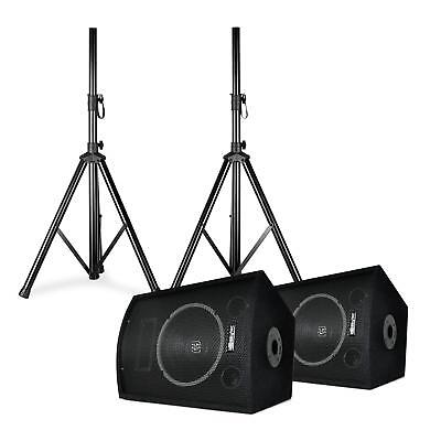 """PA Speakers Disco DJ Party Tripods 10"""" Woofer 250W max. Transport Bag"""
