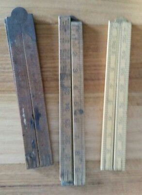 Vintage Wood Rules Measuring Rulers x3 Rabone 1380 Made in England