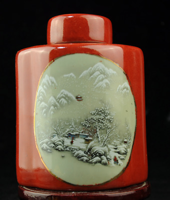 Chinese old famille rose porcelain tea caddy pot 62  b02