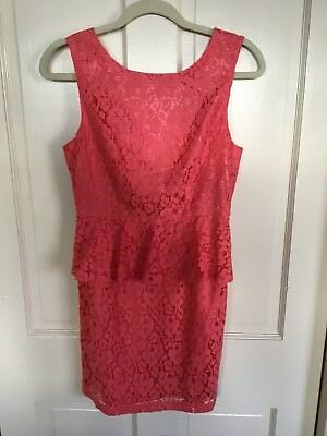 Forever 21 Coral Lace Peplum Dress Size Small Petite