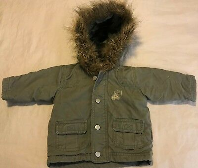 Baby Boys Pumpkin Patch Hooded Jacket Khaki Army Size 3 - 6 Months Exc Cond
