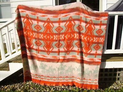 vintage indian theme blanket horses travois on the trail design 72 x 64 old worn