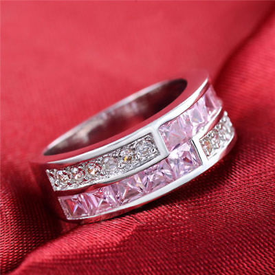 Exklusiver  Damen Ring  Brillant/Weiss/Pink  in 925er Sterling Silber pl. Top !