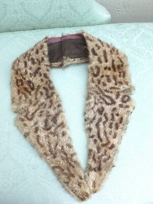 Spotted Real Fur Vintage Notched Lapel Collar