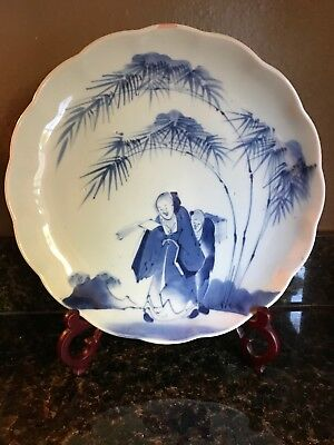 """Antique Japanese Blue and White Arita Porcelain 11.5"""" Plate with Figures"""