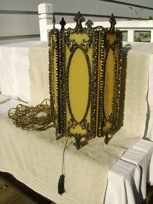 """mid century swag hanging lamp light large 19"""" tall mediterranean ornate gothic"""