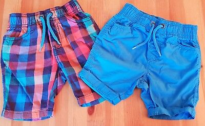 Boys 9 - 12 months blue and checked coloured shorts - excellent condition