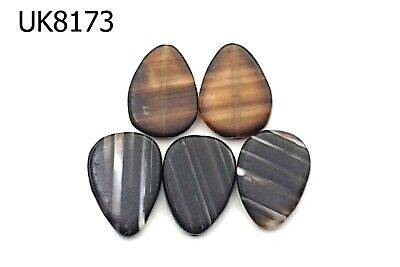 Lot 5 Very Rare Flat TEAR DROP PYU Style Plate Art Deco Banded Agate Beads #8173