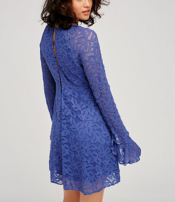 Free People Embroidered Victorian Dress Long Sleeve Lace Flared Bell Small46 NEW