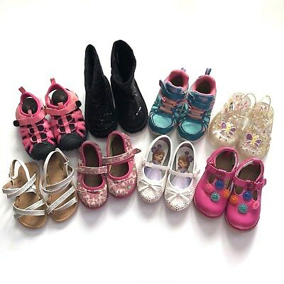0b805deb4aa Toddler Girls Size 7 Lot Of Shoes Sandals Boots Athletic Water Jellies Toms