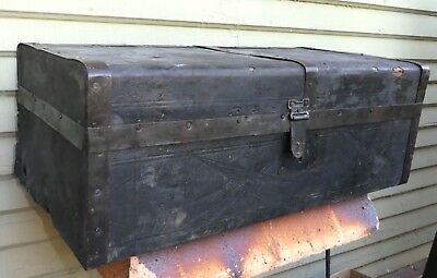 Vintage Antique Ladies Wood Leather Embossed Black Steamer Trunk Luggage