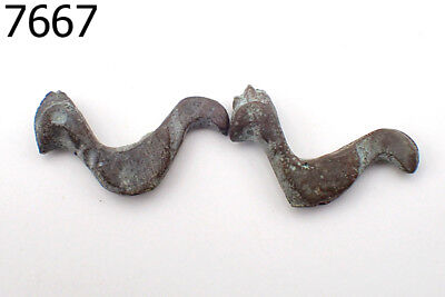 LOT 2 Ancient Excavate Bronze Decorated BIRDS CHICKEN Luristan Roman Beads #7667