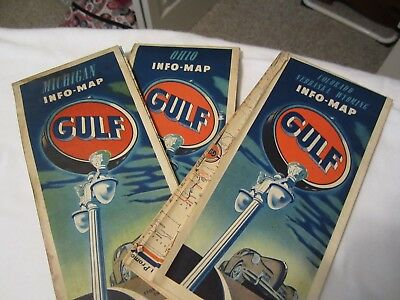 LOT OF3 GULF OILVINTAGE  ROAD  MAPS  .from 1949-Ohio, Michigan, and CO/NE/WY