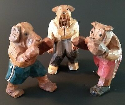 Vintage Carved Wood Dog Group 3 piece set BOXERS AND REFEREE  (Anri?)