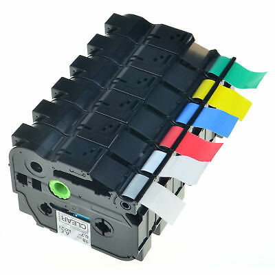 """6PK Set 3/4"""" Black letter For Brother P-Touch Laminated TZe, TZ Label Tape 18mm"""
