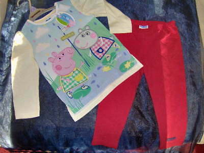 LITTLE GIRLS PEPPA PIG TOP & RED LEGGINGS  -AGES 2/3 or 3/4 YEARS