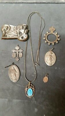 VINTAGE lot  of 7 RELIGIOUS MEDALS, CRUCIFIXES, NECKLACE