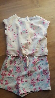 girls pink & blue floral summer playsuit shorts age 5 years
