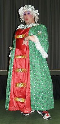 "Pantomime Dame Christmas Costume with hat/shawl and crackers Chest 66"" Waist 62"""