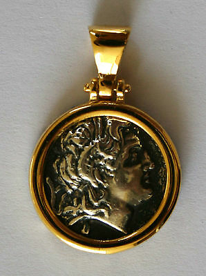 ALEXANDER THE GREAT GREEK COIN BIG SIZE sterling silver 925 gold plated 1004