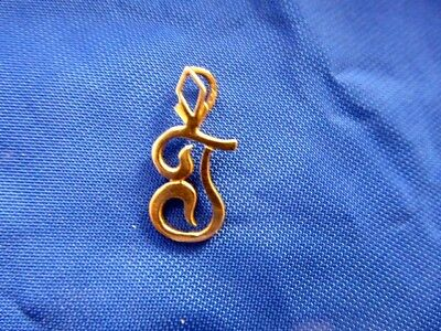 Vintage Solid 14K Yellow Gold Letter J Pendant Or Charm From Charm Holder
