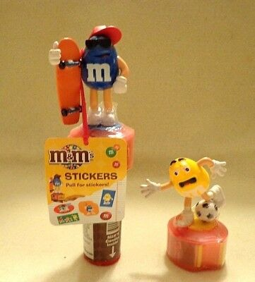 "MARS M&M CANDY DISPENSERS ""SKATEBOARDER & SOCCER PLAYER"" w/ STAMPER/STICKERS,NIB"