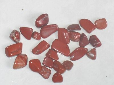 C37 Lot De 25 Petites Pierres Jaspe Rouge Naturel Roulee Galets