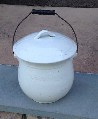 Antique White  Ironstone Chamber Pot with wood handle Large