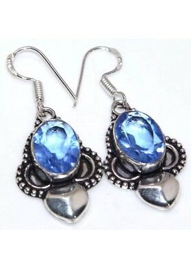 Blue Topaz Quartz Hook Style Silver Colored Dangle Earrings