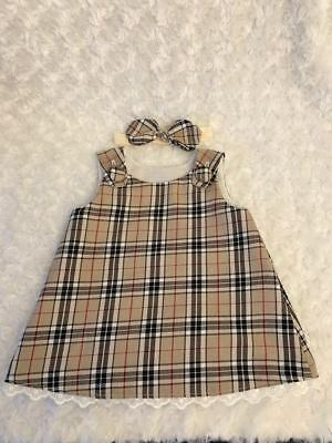 Gorgeous Spanish Style Baby Girls Beige Tartan Baby Dress With Bow Headband Gift