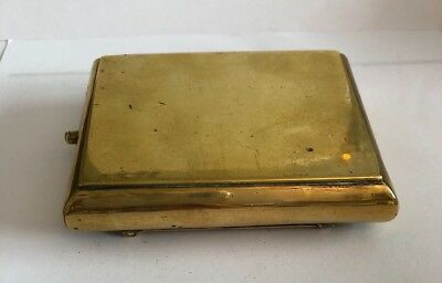 Antique brass box with secret opening