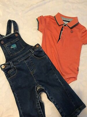 Baby/toddler Boys Ted Baker Outfit 12-18 Months Dungarees and Orange Polo