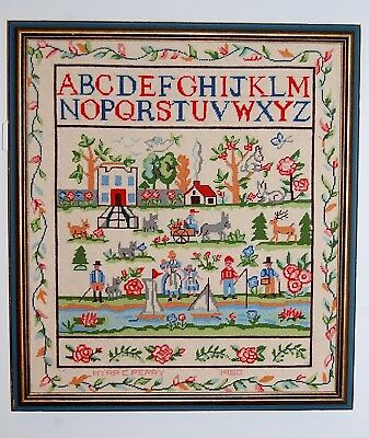 """Vintage 1920 Very Colorful Petit Point SAMPLER-Signed, Dated, and """"Busy""""!"""
