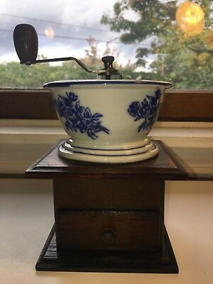 Vintage Coffee Grinder Wood/Blue White Pottery Ceramic Bowl Vintage Handle Too!