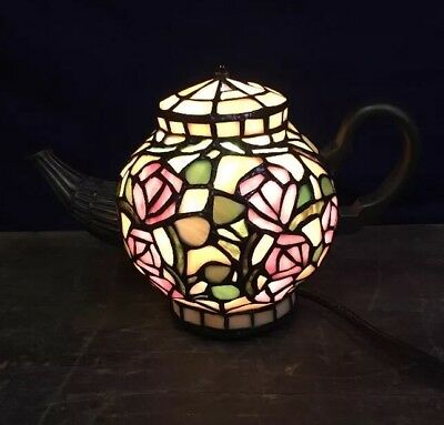 """Vintage Stained Glass Tiffany Style Teapot  accent table Lamp 7""""  Multi Colored"""